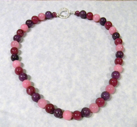 Shades of Pink and Purple Dyed Agate Necklace.