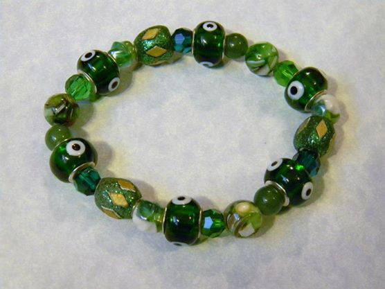 Shades of Green Crystal, Gemstone, Givre, Kashmiri Lac and Evil Eye Stretch Bracelet