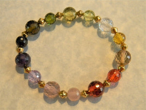 Rainbow Multicolor Faceted CZ and Gold Plated Brass Bead Stretch Bracelet