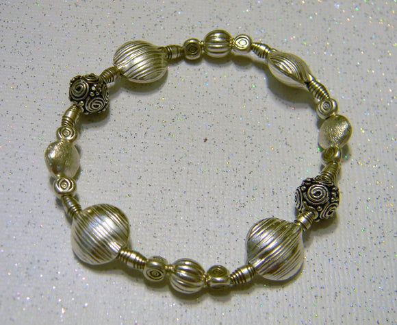 All Silver Bali, Thai Karen, Sterling and Hill Tribe Bead Stretch Bracelet