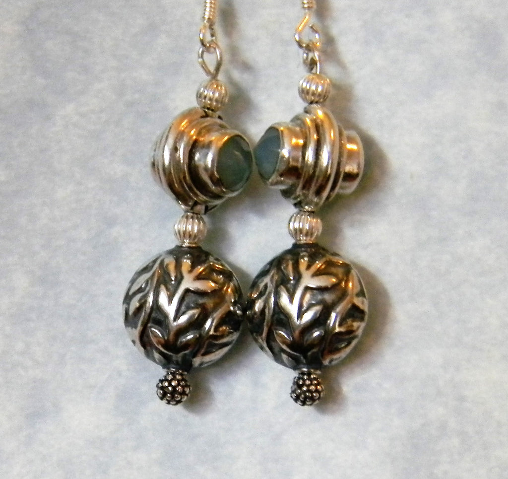 Faceted Blue Chalcedony and Silver Leaf Motif Bali Style Drop Earrings