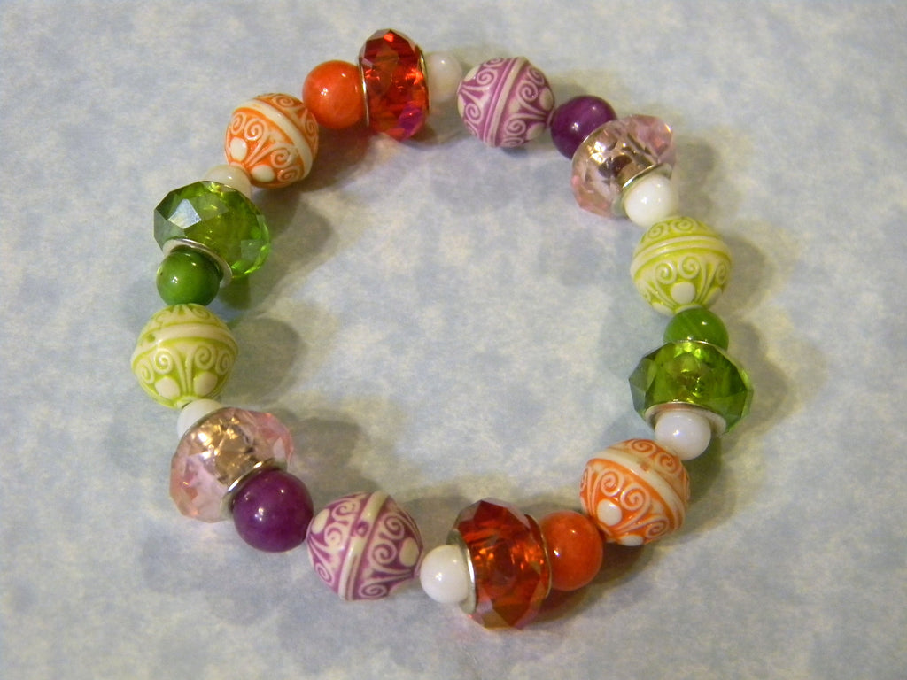 Orange, Purple & Green Acrylic Bead, Shell, Agate & Faceted Glass Stretch Bracelet