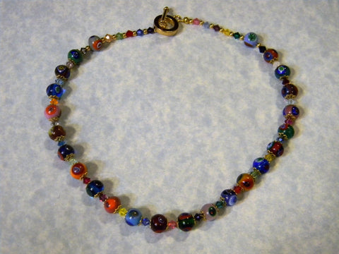 Rainbow Multicolor Murano Glass Millefiori and Crystal Necklace