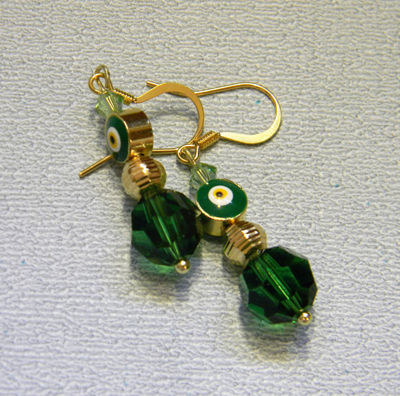 Bright Green Turkish Evil Eye, Gold Bead and Crystal Drop Earrings