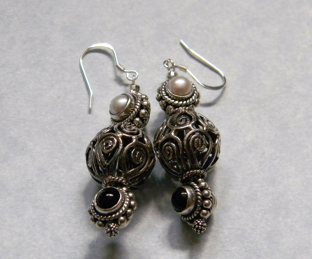 Onyx and Pearl Double Sided Bead and Bali Silver Bead Drop Earrings