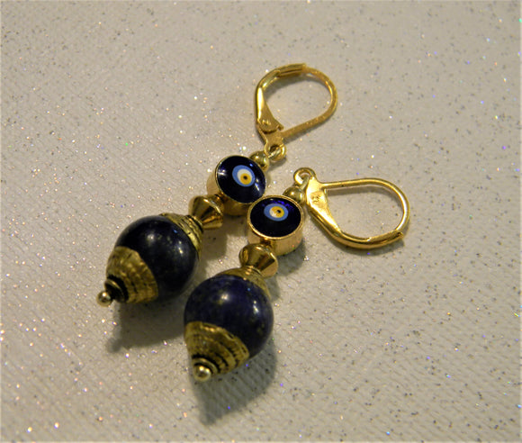Tibetan Repousse Brass Lapis Bead and Turkish Evil Eye Glass Bead Drop Earrings