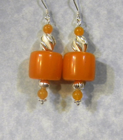 Amber, Peach Aventurine and Silver Drop Earrings
