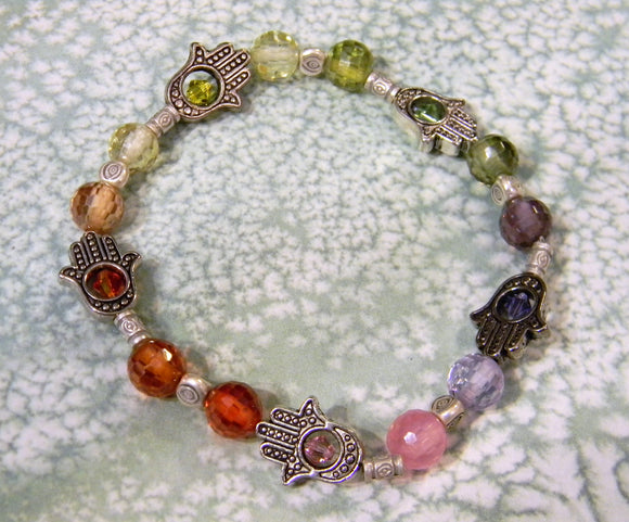 Rainbow Faceted CZ, Hill Tribe Tube, Silver Bead and Hamsa Bead Frame Stretch Bracelet