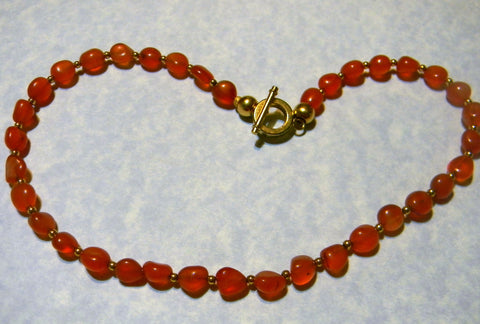 Candy Orange Carnelian Nugget and Gold Bead Necklace