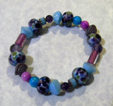 Blue, Purple & Fuchsia Art Glass, Gemstone, Pressed Glass, CZ, Furnace & Cathedral Bead Bracelet
