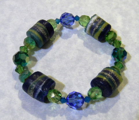 Shades of Blue and Green Krobo Bead, Crystal and Faceted Glass Stretch Bracelet