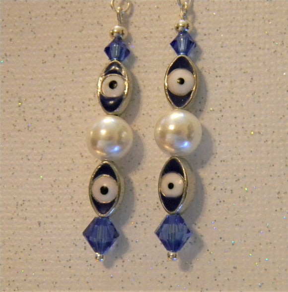 Blue, White and Silver Turkish Evil Eye, Crystal and Freshwater Pearl Drop Earrings