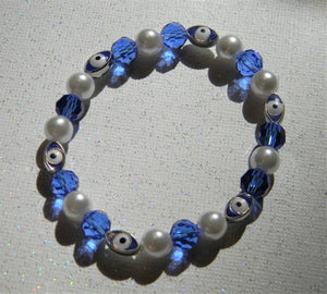 Blue, White and Silver Turkish Evil Eye, Faceted Glass and Freshwater Pearl Stretch Bracelet