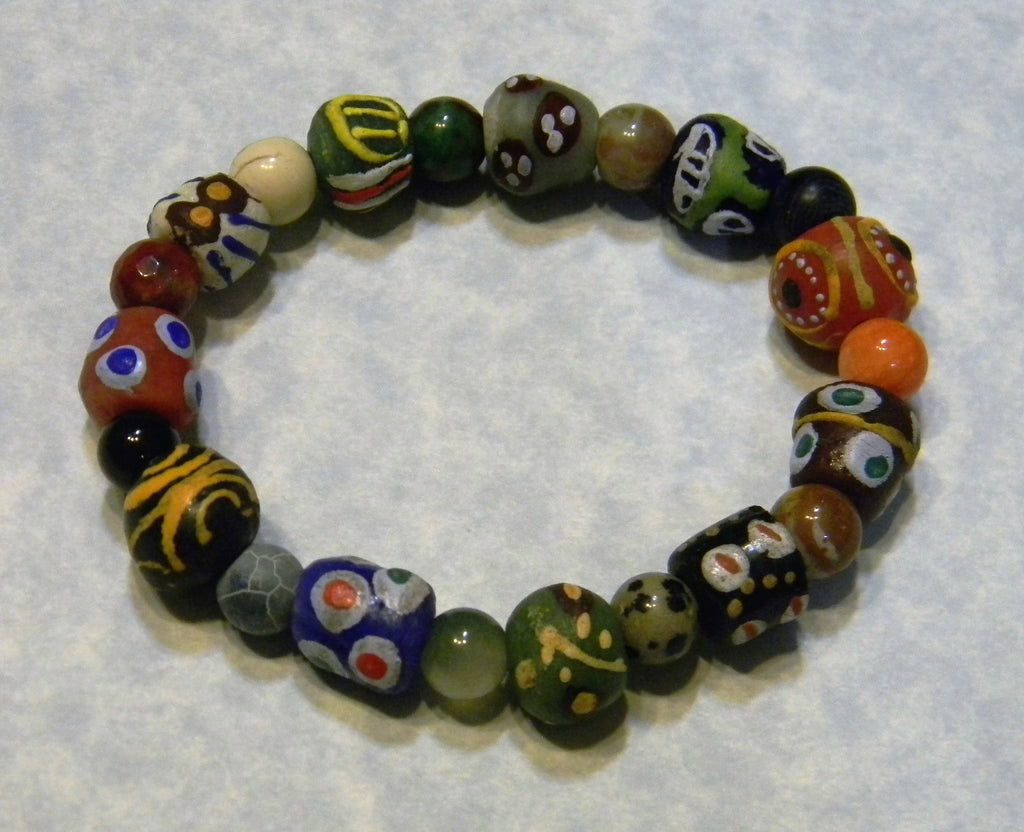 African Krobo Powder Glass Bead and Multicolor Gemstone Stretch Bracelet