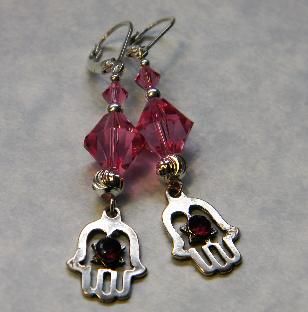 Silver Hamsa and Rhodolite Garnet Dangle Earrings