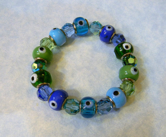 Shades of Blue and Green Evil Eye and Crystal Stretch Bracelet