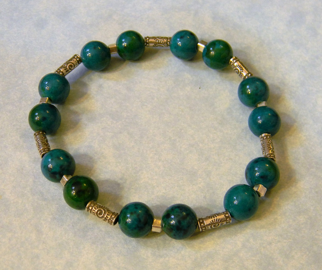 Chrysocolla, Silver and Hill Tribe Bead Stretch Bracelet