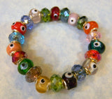 Multicolor Rainbow Evil Eye and Crystal Stretch Bracelet