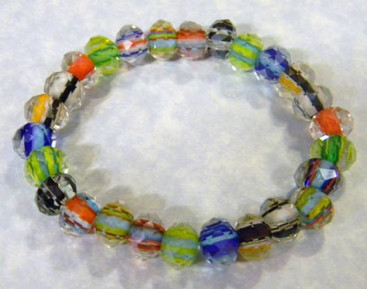 Faceted Multicolor Rainbow Furnace Cane Bead Stretch Bracelet