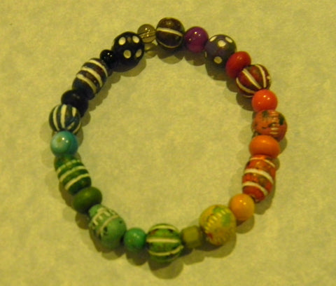 Multicolor Rainbow Clay Bead and Gemstone Stretch Bracelet