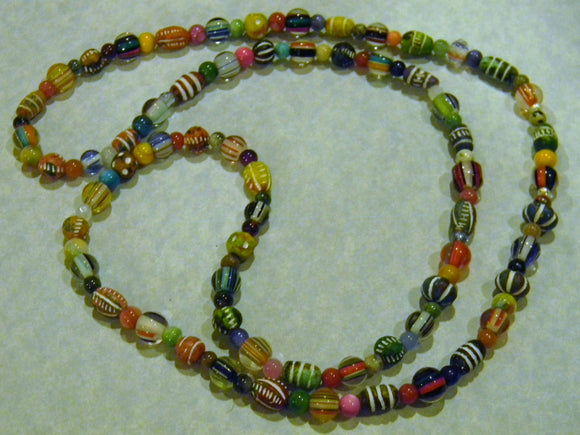Multicolor Clay, Furnace Cane Bead, Gemstone and Glass Bead Long Necklace