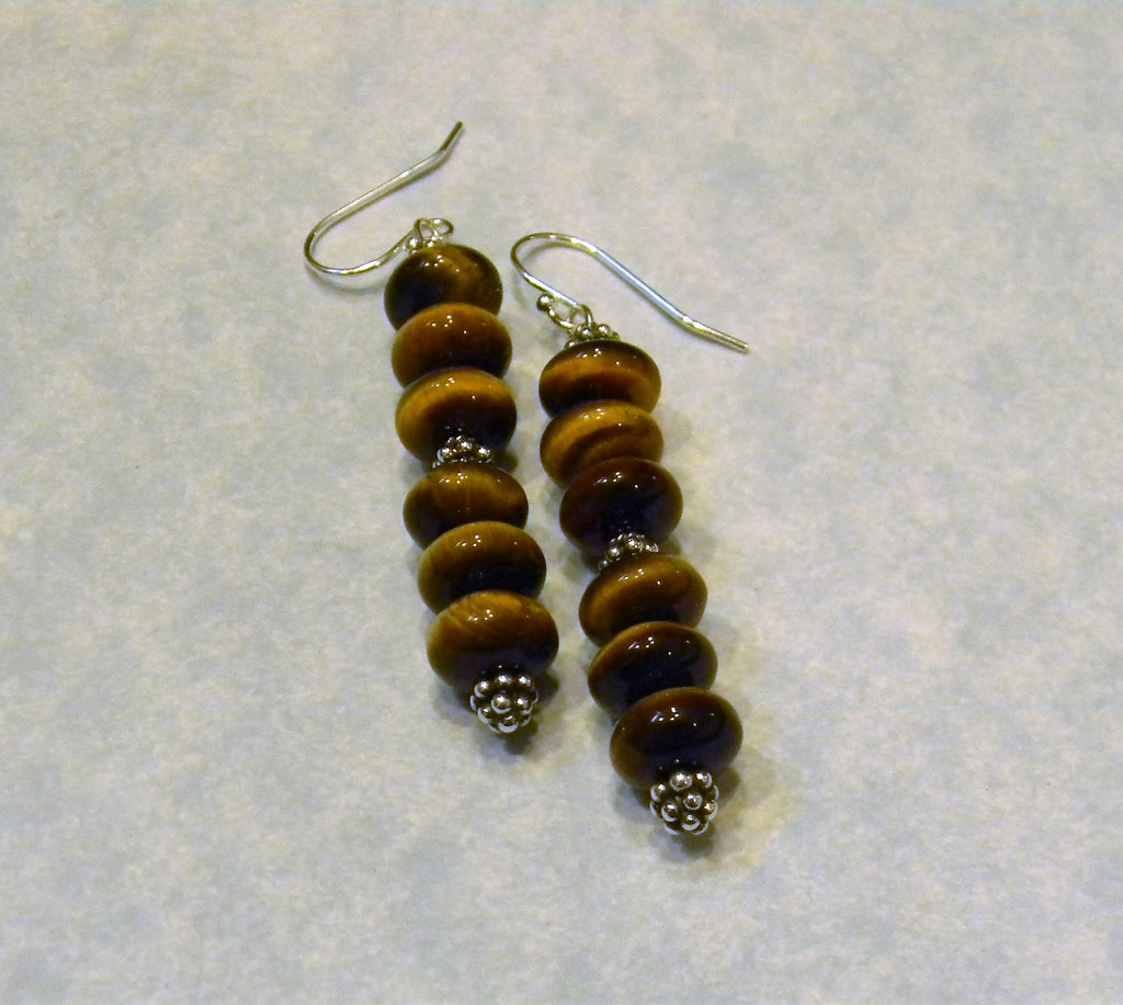 Tigers Eye Rondel and Bali Silver Drop Earrings