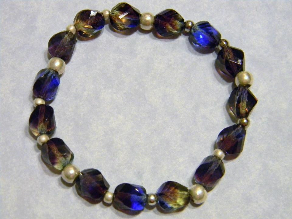 Tri-color Blue Green Purple Faceted Glass and Silver Bead Stretch Bracelet