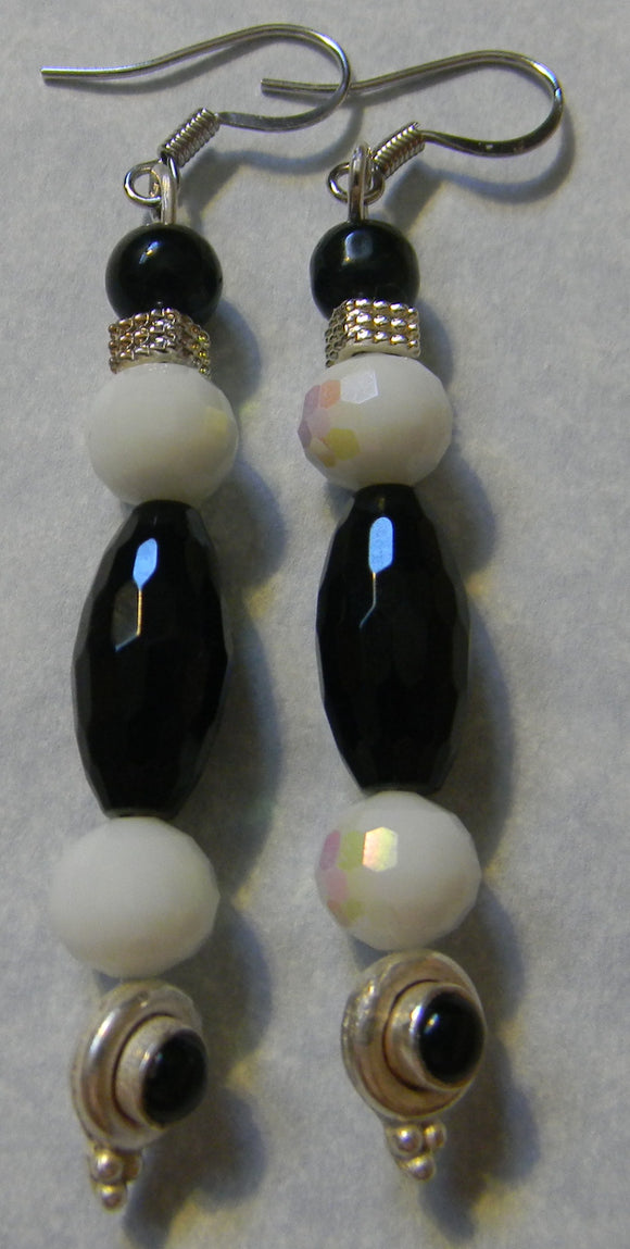 Black Agate, Onyx, Silver and White Faceted Glass Earrings