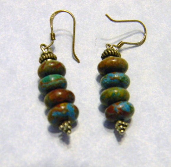 Teal and Brown Dyed Desert Jasper and Silver Drop Earrings