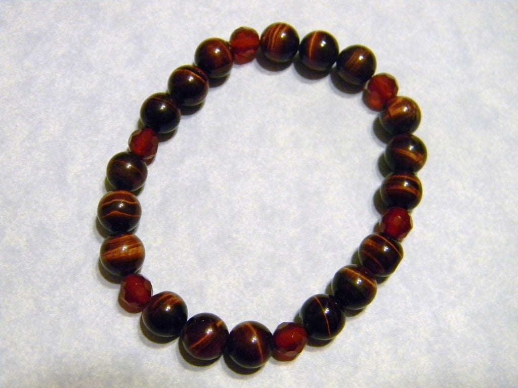 Red Tigers Eye and Faceted Carnelian Stretch Bracelet