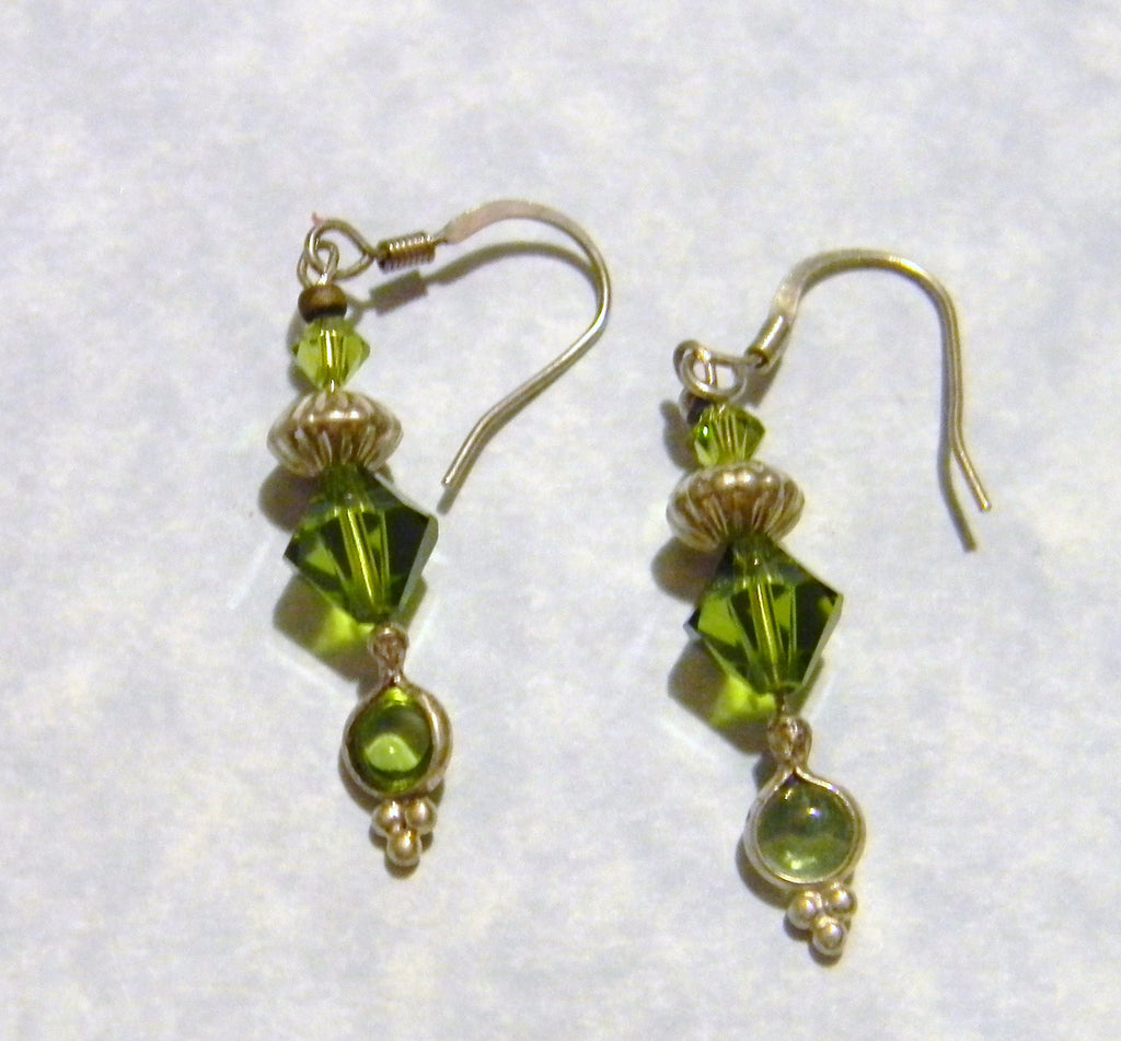 Olivine Crystal, Peridot and Silver Drop Earrings