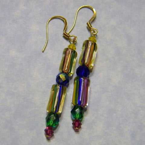 Rainbow Furnace Cane Bead, Crystal and Faceted Glass Bead Drop Earrings