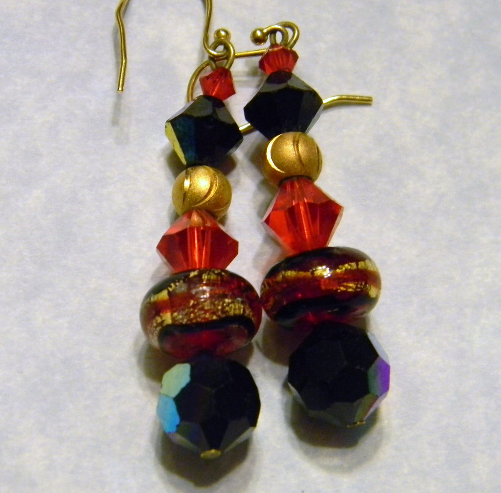Black, Red and Gold Art Glass Earrings with Gold Beads and Crystals