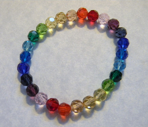 Rainbow Multicolor Crystal Round Stretch Bracelet
