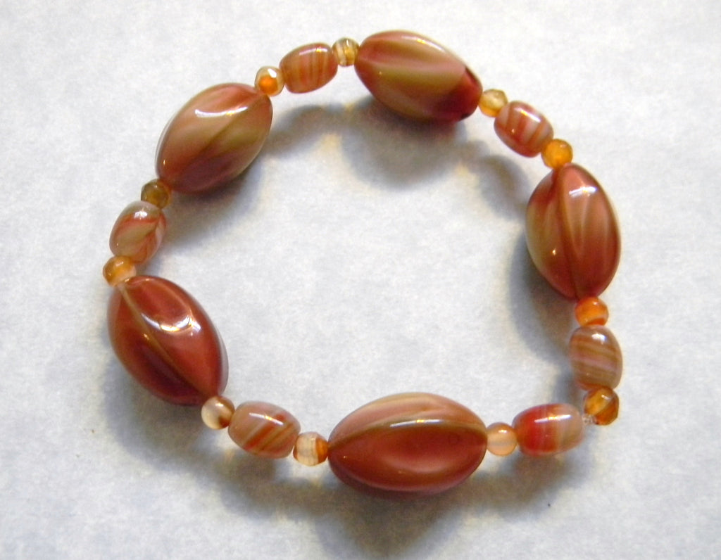 Scalloped Orange Art Glass Lampwork Bead and Carnelian Stretch Bracelet