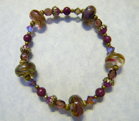 Shades of Purple Art Glass, Crystal, Fossil Bead and Silver Stretch Bracelet