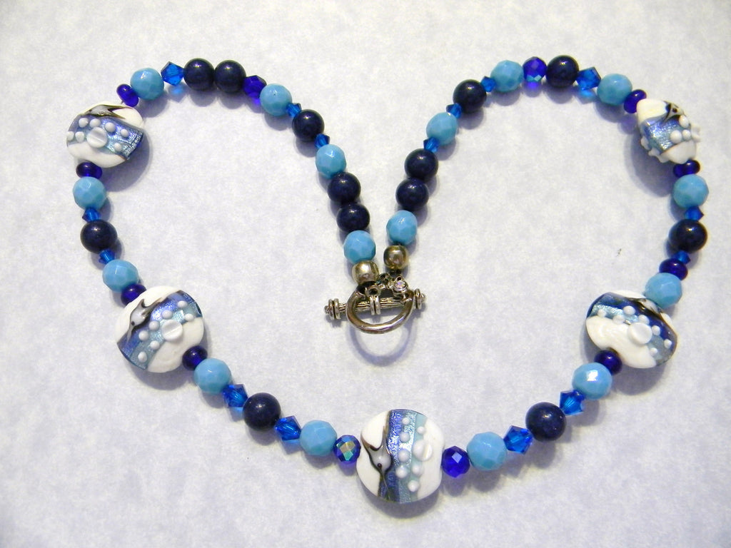 Flying Fish Art Glass Bead Necklace with Crystals, Lapis and Faceted Glass