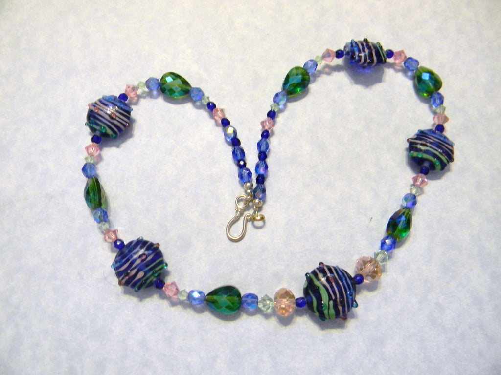 Cobalt Blue Striped Art Glass Necklace with Cystals and Faceted Glass