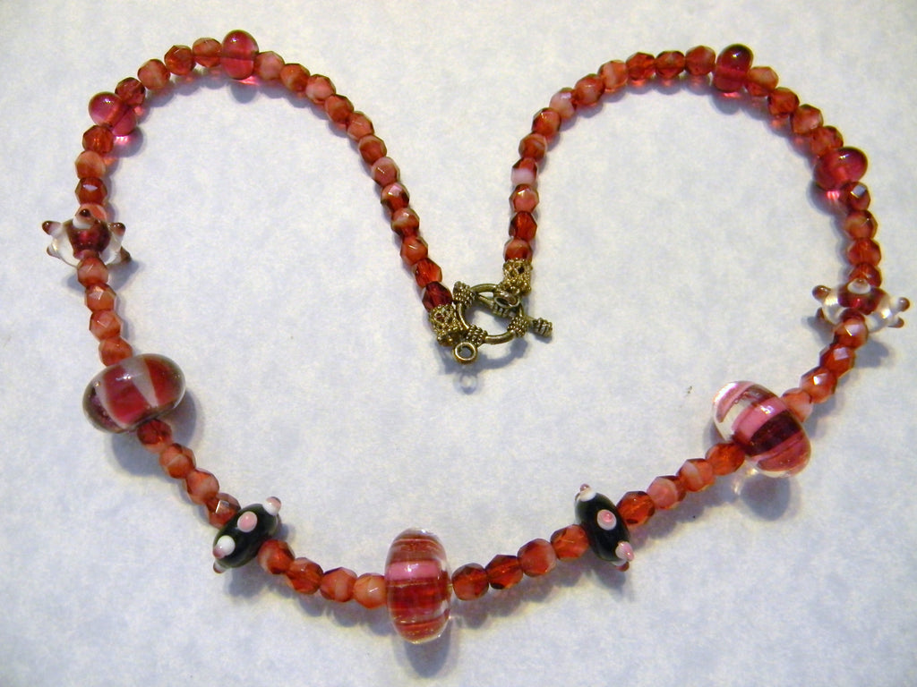 Red Art Glass Bead and Faceted Glass Bead Necklace