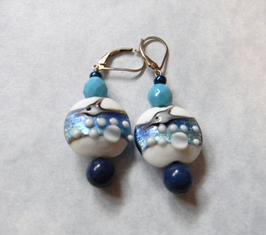 "Art Glass Shades of Blue ""Flying Fish"" Earrings with Lapis, Glass Beads and Lever Backs"