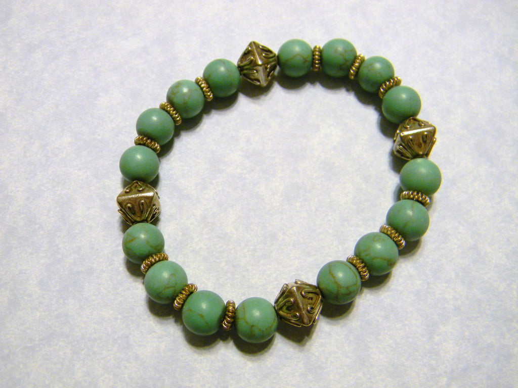 Green Turquoise and Bali Silver Bead Stretch Bracelet