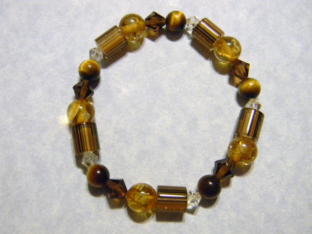Stretch Bracelet with Amber and Brown Furnace Beads, Crystals, Tigers Eye and Amber