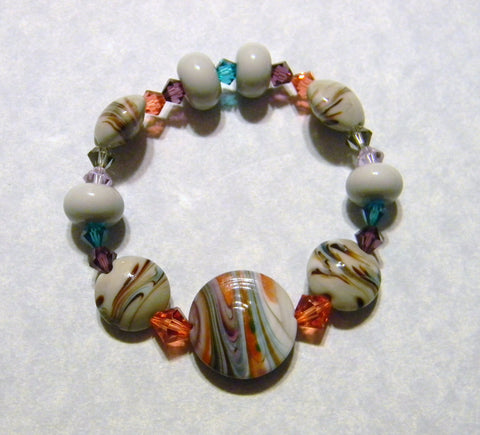 Gray Salmon and Teal Art Glass Lampwork and Crystal Stretch Bracelet
