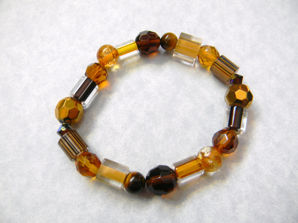 Shades of Brown and Gold, Furnace Bead, Crystal, Gemstone, and Faceted Glass Stretch Bracelet
