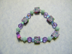 Mint Green and Lilac Crystal, Glass and Retro Fimo Square Stretch Bracelet