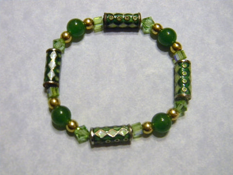 Green and Gold Harlequin Cloisonné Tube, Crystal and Agate Stretch Bracelet