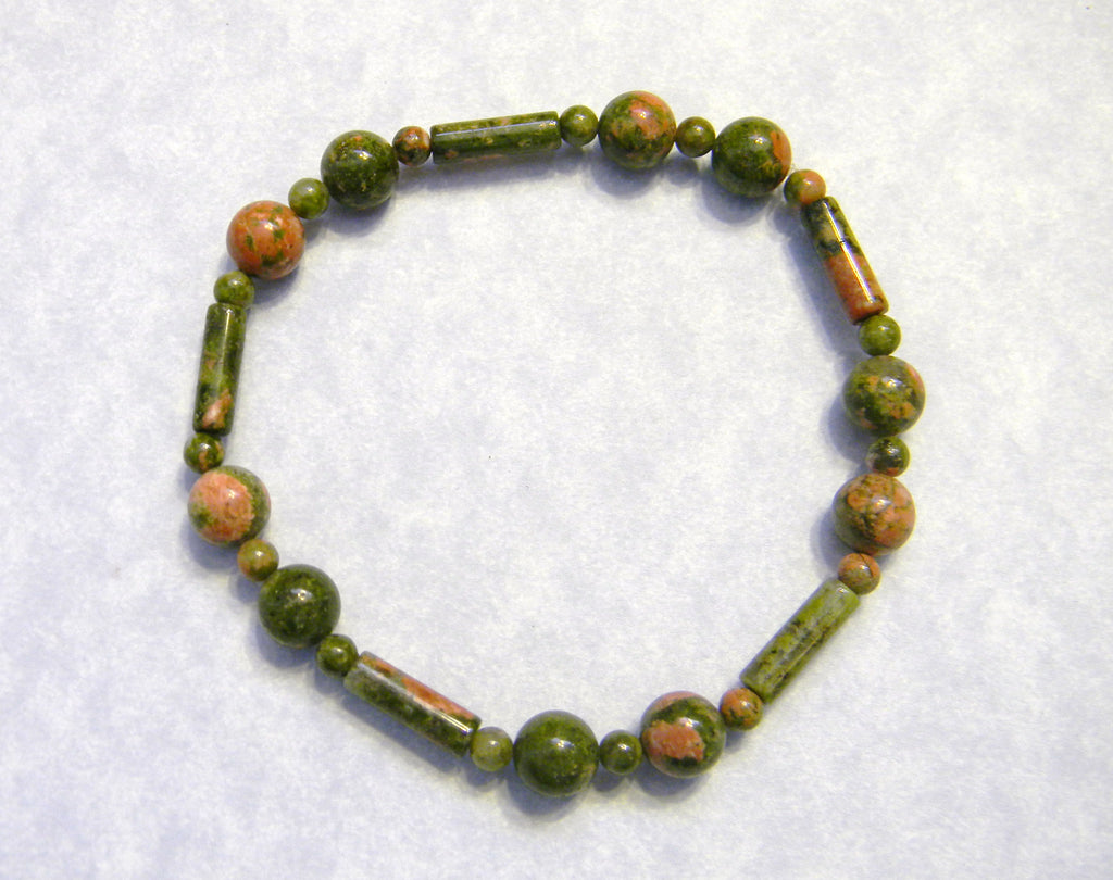 Unakite Rounds and Tubes Stretch Bracelet