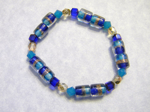 Cobalt, Turquoise and Copper Glass, Crystal and Cathedral Beads Stretch Bracelet