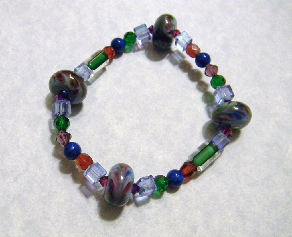 Art Glass Lampwork Bead, Crystal, Glass and Furnace Bead Stretch Bracelet