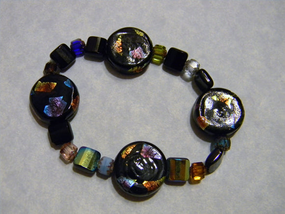 Black and Rainbow Dichroic Bead, Glass and Cathedral Bead Stretch Bracelet